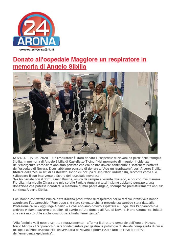 Un respiratore in memoria di Angelo Sibilia